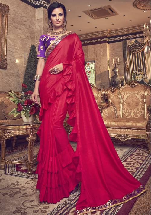 Craftsvilla Red Silk Lace Work Designer Saree With Unstitched Blouse Material