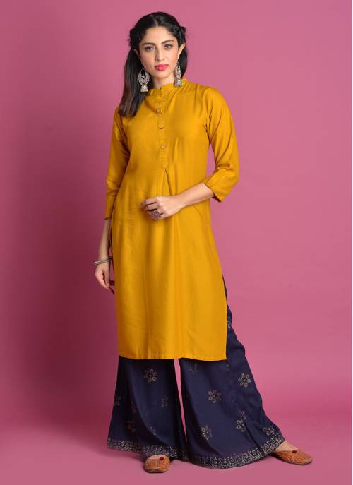 Mustard Cotton Plain Knee Length A Line Style Kurti