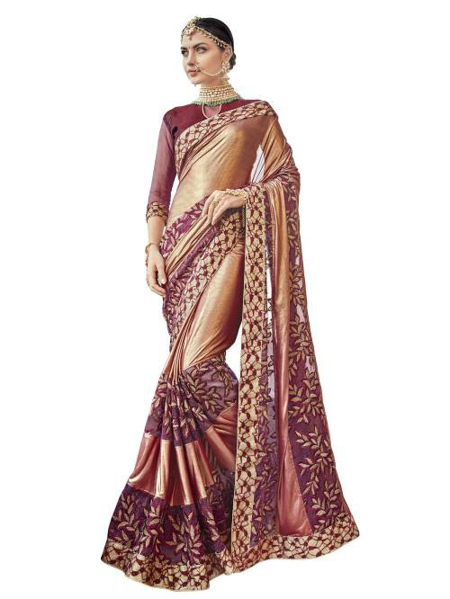Craftsvilla Gold And Maroon Color Net Kutch Embroidered Designer Saree
