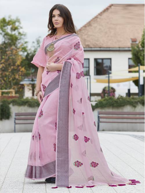 Pink Organza Woven Partywear Saree With Unstitched Blouse Material