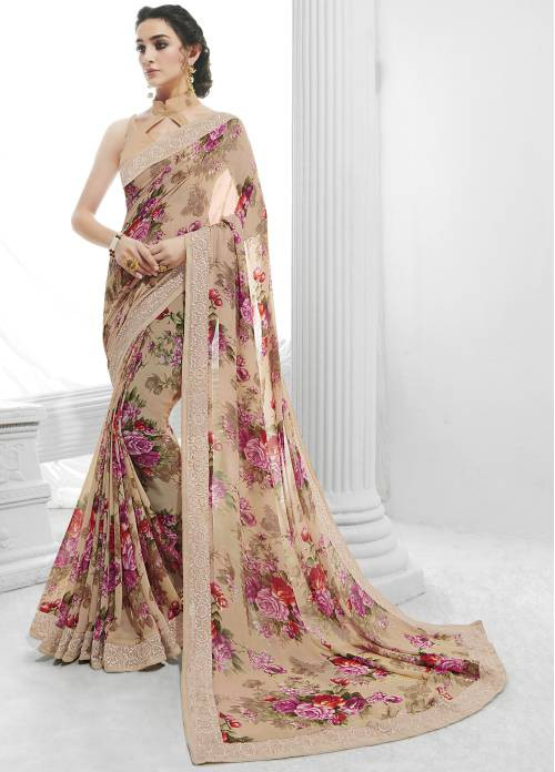 Off White Georgette Lace Work Designer Saree With Unstitched Blouse Material