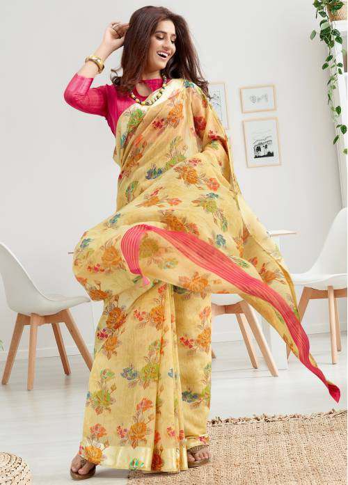 Yellow Linen Printed Designer Saree With Unstitched Blouse Material