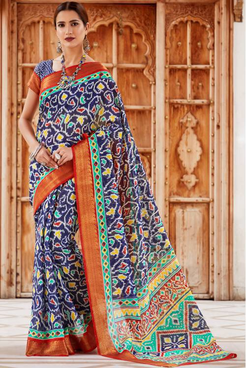 Craftsvilla Blue Kanjivaram Silk Designer Embellished Saree With Unstitched Blouse Material