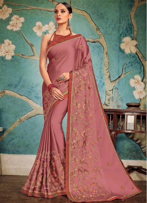 Craftsvilla Purple Georgette Resham Embroidery Partywear Saree With Unstitched Blouse Material