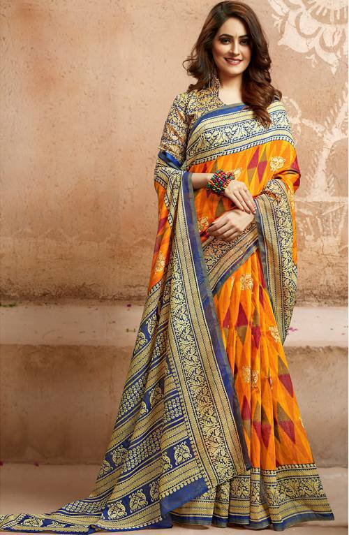 Yellow Bhagalpuri Silk Designer Saree With Unstitched Blouse Material
