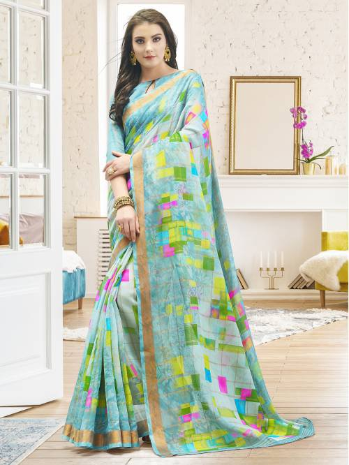 Turquoise Linen Designer Printed Saree With Unstitched Blouse Material