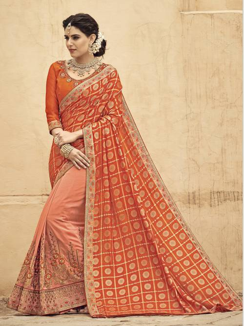 Orange Banarasi Silk Embroidered Designer Saree With Unstitched Blouse Material