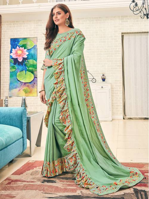 Green Silk Designer Embellished Saree With Unstitched Blouse Material