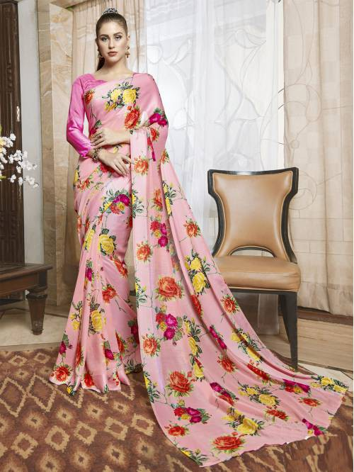 Pink Linen Floral Printed Saree With Unstitched Blouse Piece