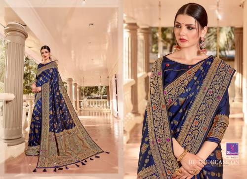 Blue Silk Woven Saree With Blouse Piece
