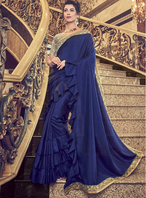 Craftsvilla Blue Silk Lace Work Designer Saree With Unstitched Blouse Material