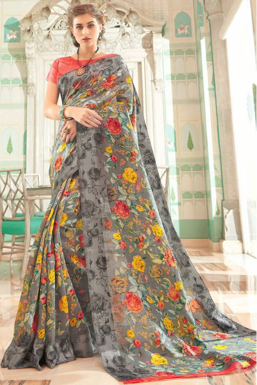 Grey Linen Designer Floral Printed Saree Unstitched Blouse Material