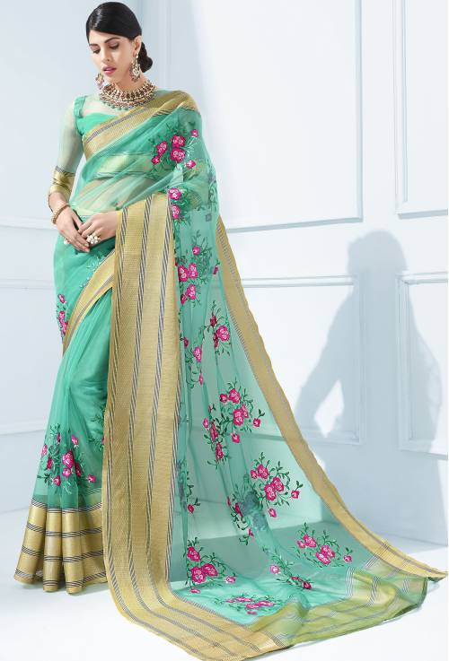 Green Georgette Resham Embroidered Partywear Saree With Unstitched Blouse Material