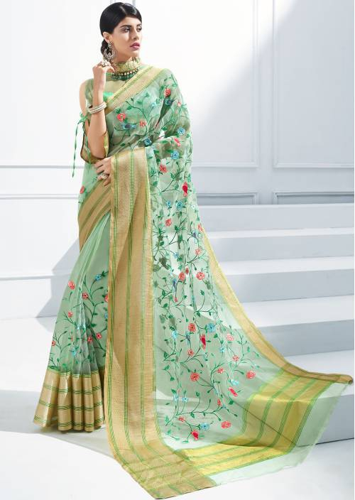 Craftsvilla Green Georgette Resham Embroidered Partywear Saree With Unstitched Blouse Material
