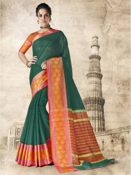 Green Kota Silk Designer Saree With Unstitched Blouse Material