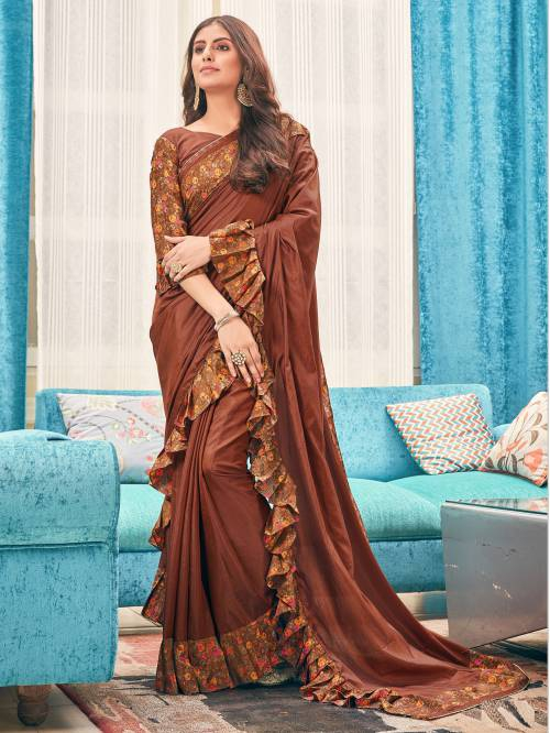 Brown Silk Designer Embellished Saree With Unstitched Blouse Material