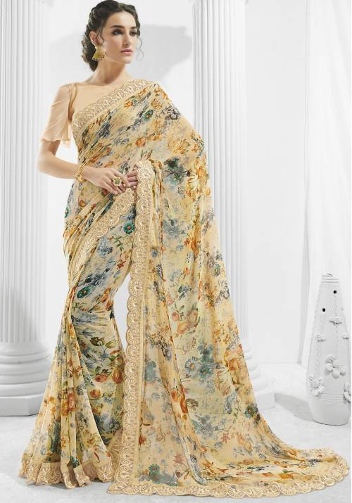 Pastel Georgette Lace Work Designer Saree With Unstitched Blouse Material