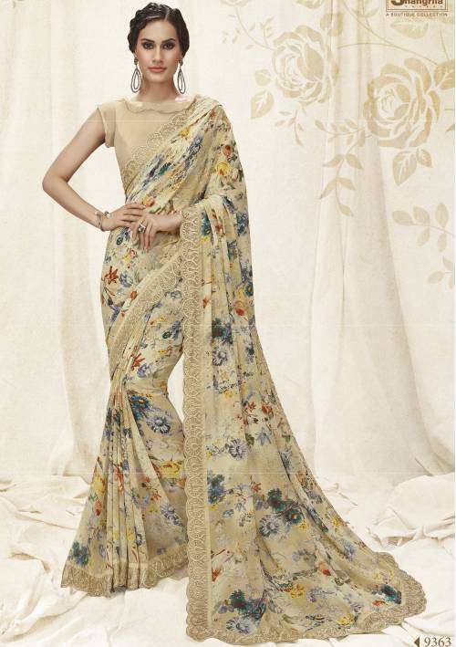 Grey Georgette Lace Work Designer Saree With Unstitched Blouse Material