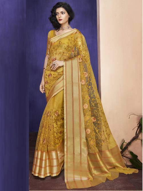 Craftsvilla Mustard Organza Resham Embroidery Saree With Unstitched Blouse Material