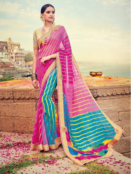 Craftsvilla Pink Color Georgette Lehariya Designer Saree With Unstitched Blouse Material
