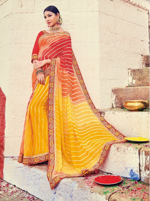 Craftsvilla Red Color Georgette Lehariya Designer Saree With Unstitched Blouse Material