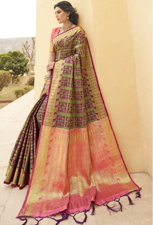 Craftsvilla Green Banarasi Silk Handwoven Traditional Saree With Unstitched Blouse Material