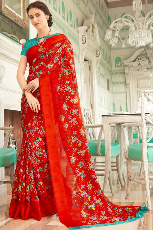 Red Linen Designer Floral Printed Saree Unstitched Blouse Material