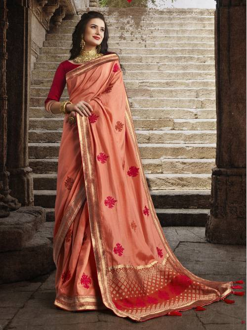 Orange Silk Designer Woven Saree With Unstitched Blouse Material