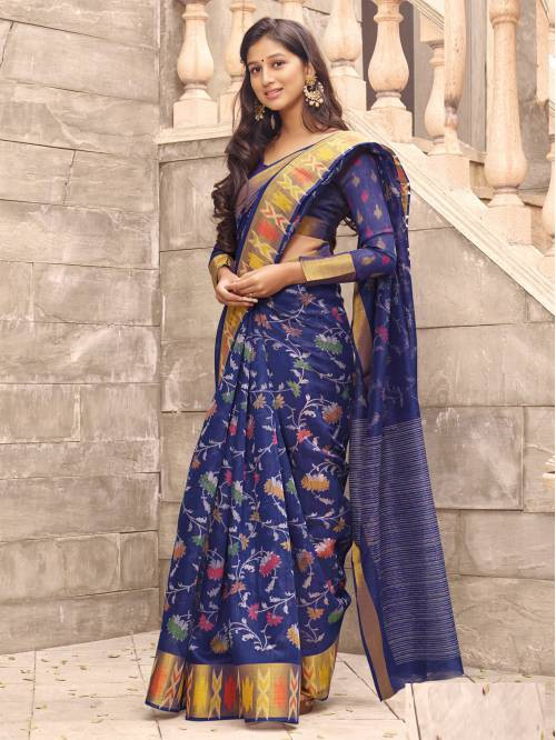 Blue Linen Designer Floral Printed Saree With Unstitched Blouse Material