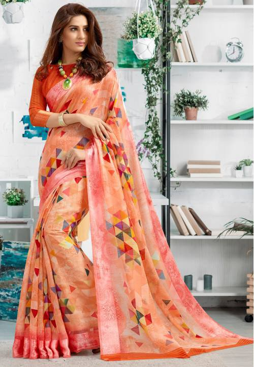 Orange Linen Printed Designer Saree With Unstitched Blouse Material