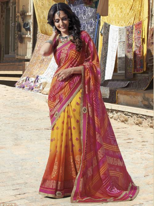 Craftsvilla Yellow Georgette Lace Work Partywear Saree With Unstitched Blouse Material