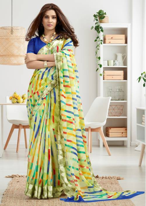 Multicolor Linen Printed Designer Saree With Unstitched Blouse Material