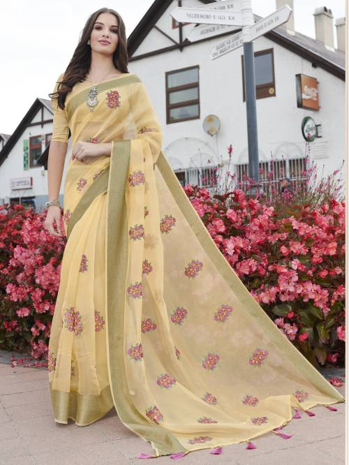 Craftsvilla Beige Organza Woven Partywear Saree With Unstitched Blouse Material