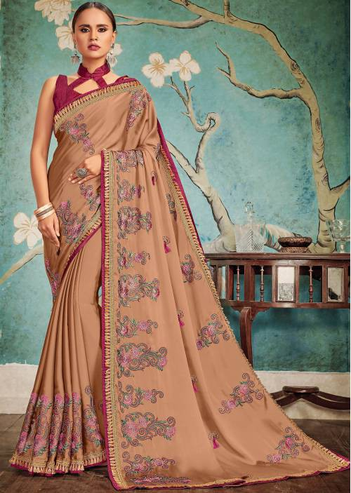 Craftsvilla Brown Georgette Resham Embroidery Partywear Saree With Unstitched Blouse Material