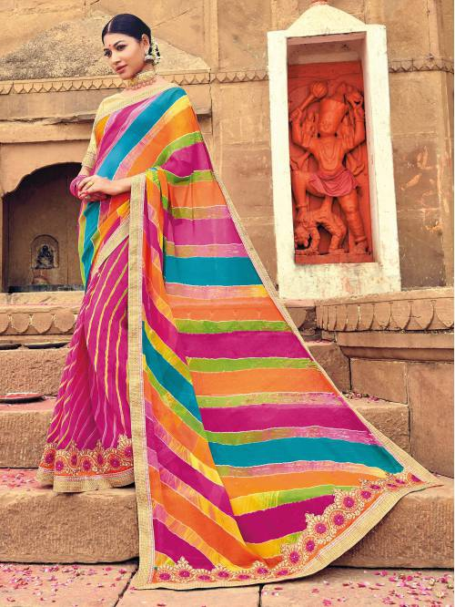 Craftsvilla Multicolor Georgette Lehariya Designer Saree With Unstitched Blouse Material