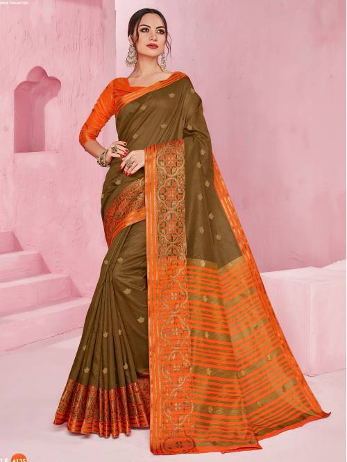 Beige Silk Blend Woven Partywear Saree With Unstitched Blouse Material