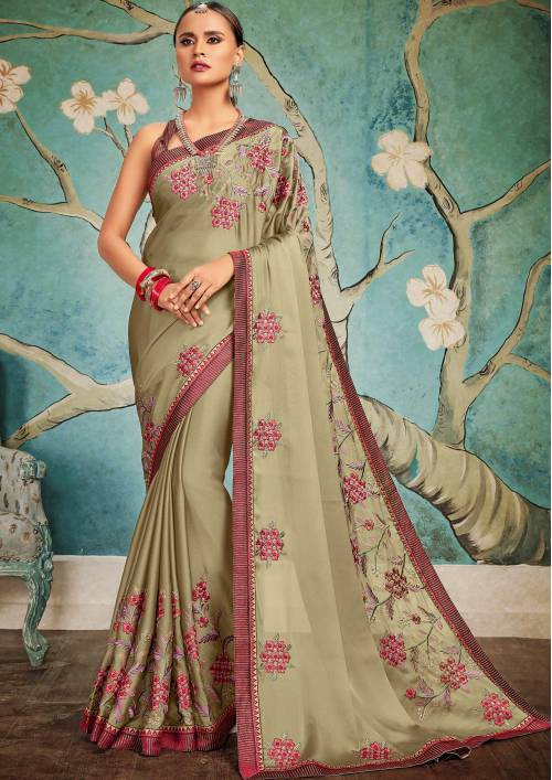 Craftsvilla Beige Georgette Resham Embroidery Partywear Saree With Unstitched Blouse Material