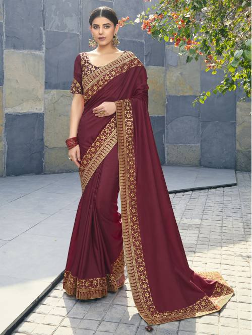 Maroon Dola Silk Swarovski Weaving Work Saree With Blouse Piece