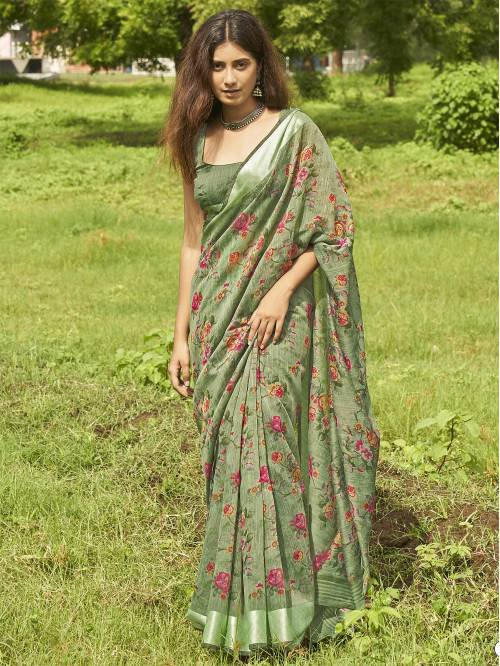 Green Cotton Linen Floral Printed Saree With Blouse Piece