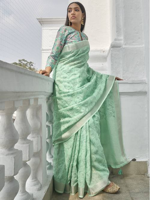 Turquoise Linen Cotton Embroidered Saree With Blouse Piece