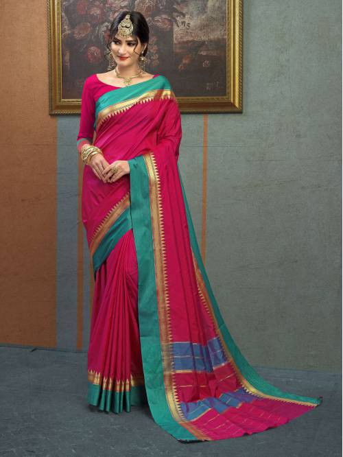 8e1d2fa5e6d1ed Buy Craftsvilla Maroon Color Silk Saree With Traditional Temple Border Work  And Unstitched Blouse Material Online | Craftsvilla