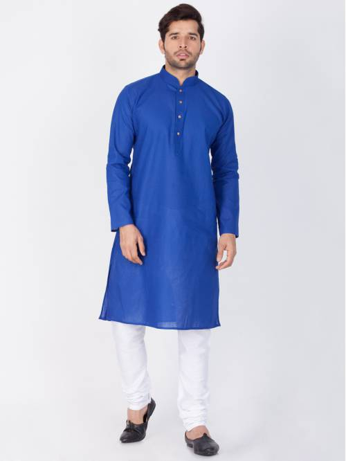 Craftsvilla Blue Color Linen Solid Full Sleeves Kurta And Pyjama Set