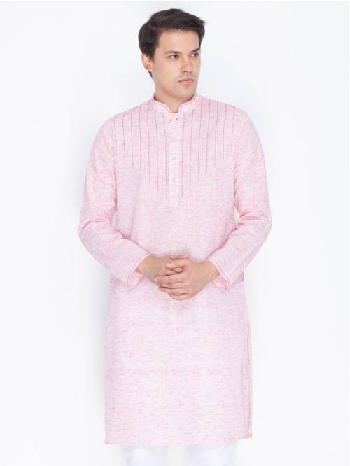 Craftsvilla Lavender Pink Color Linen Long Sleeves Kurtas