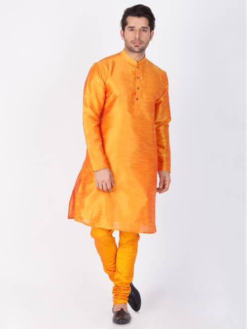 Craftsvilla Orange Color Cotton Silk Solid Kurta