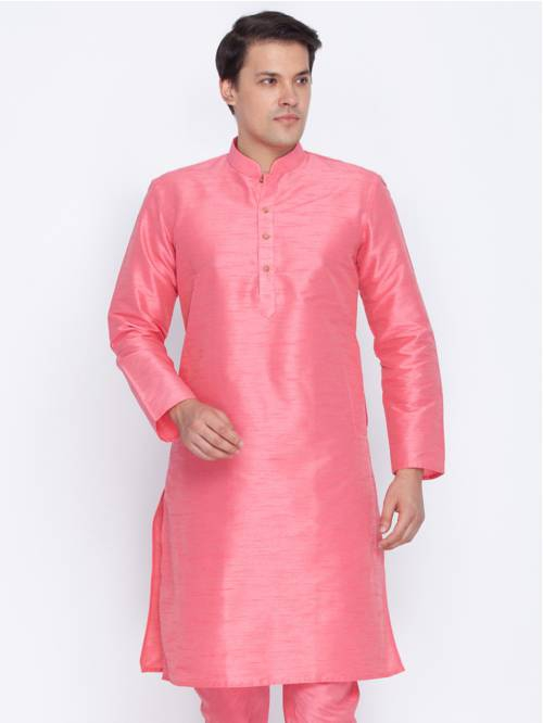 Craftsvilla Pink Color Cotton Silk Long Sleeves Kurtas