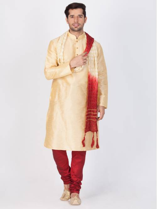 Craftsvilla Gold Color Cotton Silk Solid Full Sleeves Kurta Pyjama Set & Dupatta