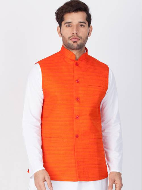 Craftsvilla Orange Cotton Blend Sleeveless Nehru Style Jacket