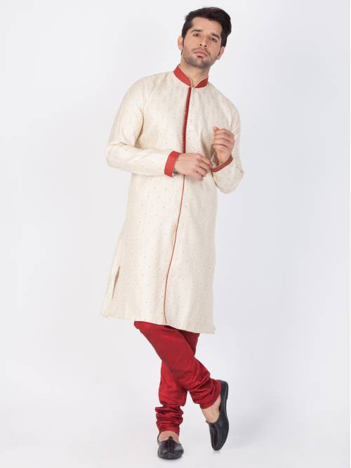 Craftsvilla Gold Color Silk Blend Plain Kurta-pyjamas