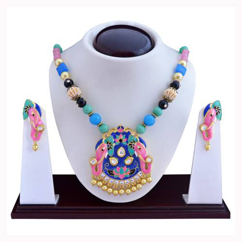Craftsvilla Gold Plated Pearls Casual Meenakari Necklace Set