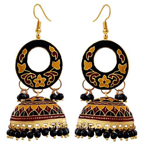 Craftsvilla Traditional Meenakari Gold Plated Brass Tokri Jhumki Earring Set